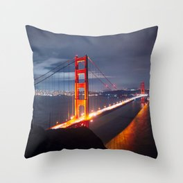 Golden Gate Bridge at Night | San Francisco, CA Throw Pillow