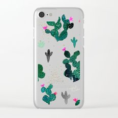 Cactus Desert Pink Dusk Moon Clear iPhone Case