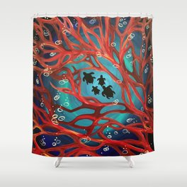 Fire Coral Shower Curtain