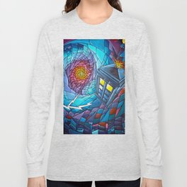 Tardis stained glass style Long Sleeve T-shirt