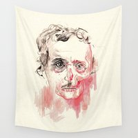 edgar allan poe Wall Tapestries featuring Poe by Elena López Macías