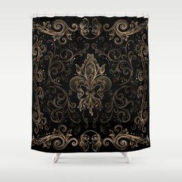 Fleur-de-lis ornament Black and Gold Shower Curtain