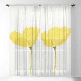 Yellow Poppy White Background #decor #society6 #buyart Sheer Curtain