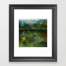 Frog on his Rock Framed Art Print