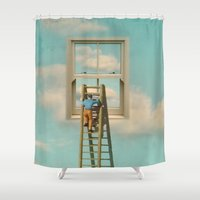 magritte Shower Curtains featuring Window cleaner in the sky 02 by Vin Zzep