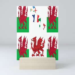 Wales Rugby Fan Baner Cymru Flag Design Mini Art Print