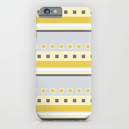 Squares and Stripes in Yellow and Gray iPhone Case