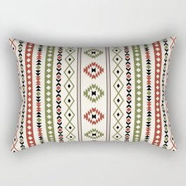 Aztec Rust Green Black Cream Mixed Motifs Pattern Rectangular Pillow