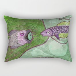 Marine Encounters [Green Version with Seashells] Rectangular Pillow