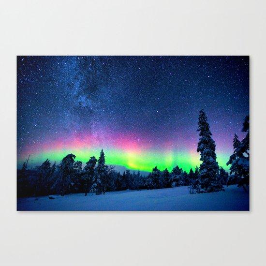 Aurora Borealis Over Wintry Mountains Canvas Print
