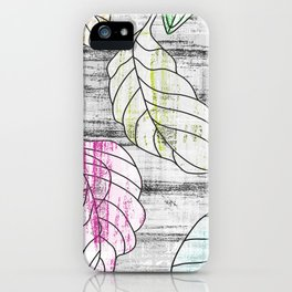 Black and white large leaves print iPhone Case