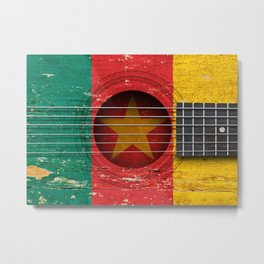 Old Vintage Acoustic Guitar with Cameroon Flag Metal Print