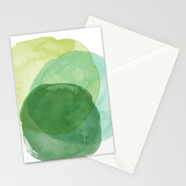 Abstract Organic Watercolor Shapes Painting in Green Stationery Cards