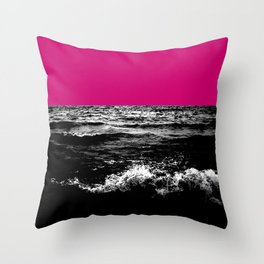 Black Wave w/Hot Pink Horizon Throw Pillow