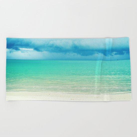 Blue Turquoise Tropical Sandy Beach Beach Towel