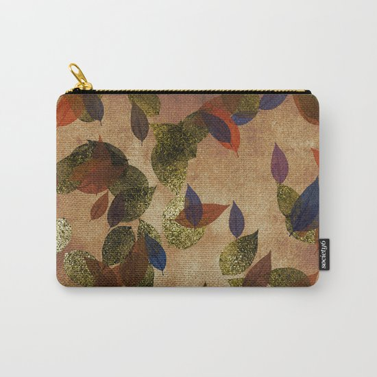 Autumn-world 3 - gold glitter leaves on dark backround Carry-All Pouch