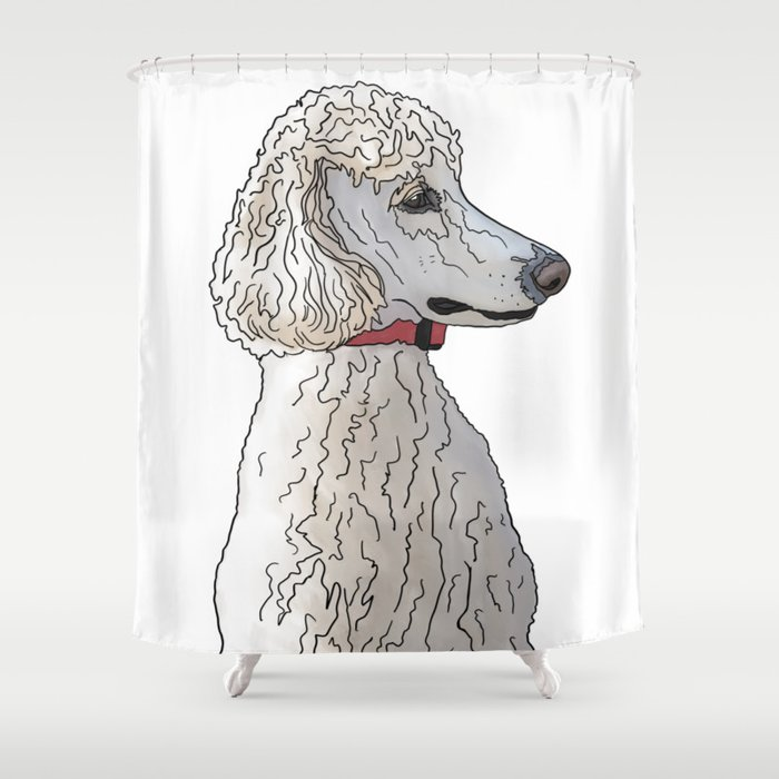 Kyah The White Standard Poodle Shower Curtain