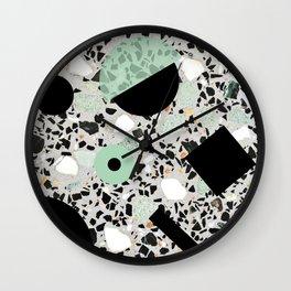 Terrazzo Design Memphis Style Green and Black Wall Clock