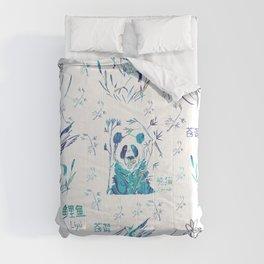 Cute teal chinese koi fish panda bird floral typography Comforters