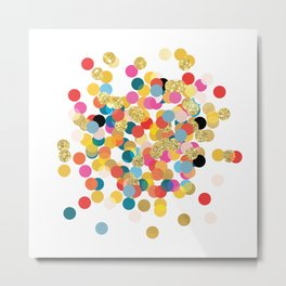 Gold & Colorful Confetti Pattern Metal Print