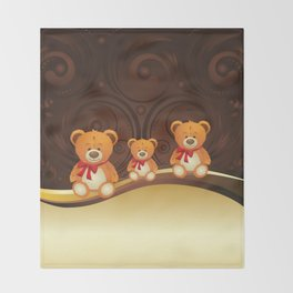 Teddy bear with red bow Throw Blanket