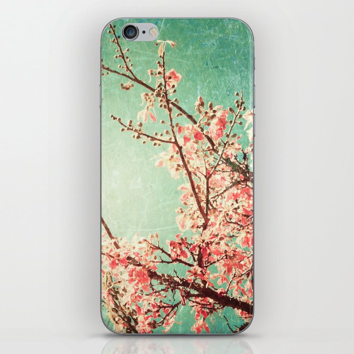 Pink Autumn Leafs on Blue Textured Sky (Vintage Nature Photography) iPhone Skin