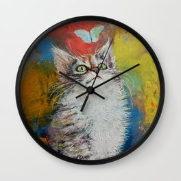 Kitten and Butterfly Wall Clock