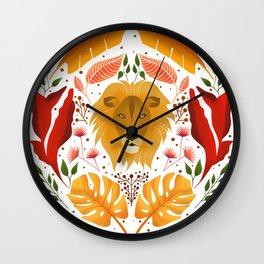 Leo Illustration // Zodiac Sign - Hand Drawn Zodiac - Hand Drawn Leo - Folk Art - Zodiac Art Print Wall Clock