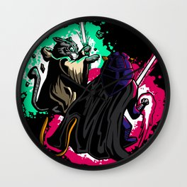 Cats with light swords Wall Clock