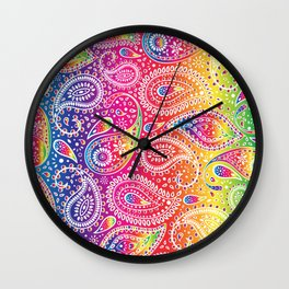 Beautiful Pattern of Paisley Art, Flowers, Doodles - Spectrum and White Wall Clock