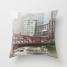 Chicago River Scene Throw Pillow