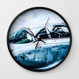Cockpit Of A Modern Two-Seater Fighter Plane. Aviation Art Wall Clock