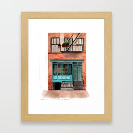 New York watercolor house front Framed Art Print