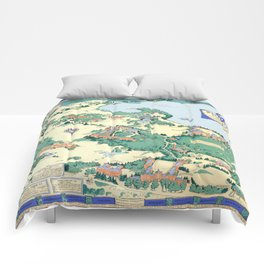 WELLESLEY College map MASSACHUSETTS dorm decor graduate Comforters