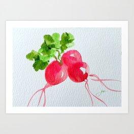 Watercolor Radishes Art Print