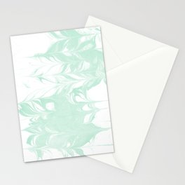 Marble mint 2 Suminagashi watercolor pattern art pisces water wave ocean minimal design Stationery Cards