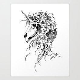 Skull Unicorn Art Print