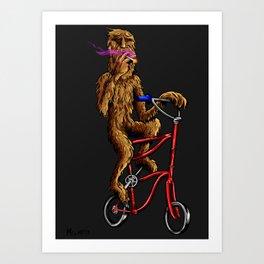 Bigfoot High-up on his Tallbike Art Print