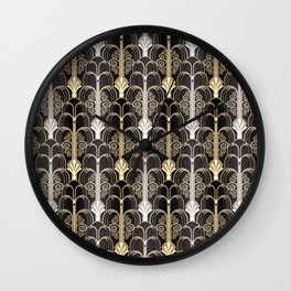 Art Deco black/gold Wall Clock
