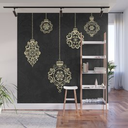 Decorative Rose Gold Geometry On Black Damask Wall Mural