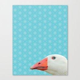 Goose Portrait, Star Pattern Montage Canvas Print