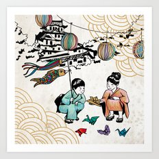 Kids and Koï Nobori Art Print