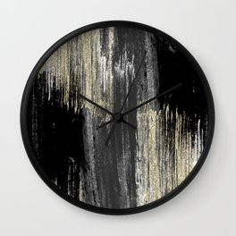 Abstract modern black gray gold glitter brushstrokes Wall Clock