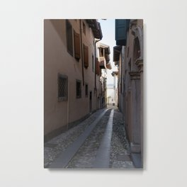 North Italy Life in the center of the lombard medieval city. Walking through narrow streets and walls. Sunny summer day. (vertical) Metal Print