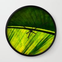 banana leaf Wall Clocks featuring Banana leaf by helsch photography
