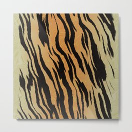 Tiger Print Watercolor Metal Print