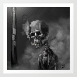 Noir Skeleton Digital Illustration Art Print