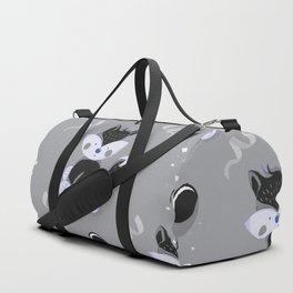 Happy Birthday Black Fox Grey Background Pattern Duffle Bag