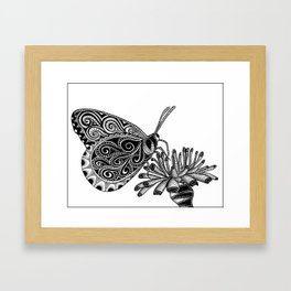 Tangled Butterfly on White Framed Art Print