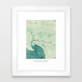 Melbourne Map Blue Vintage Framed Art Print